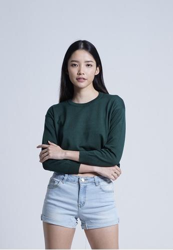 SUB green Women Long Sleeve Knit Top C0FE5AA420D577GS_1