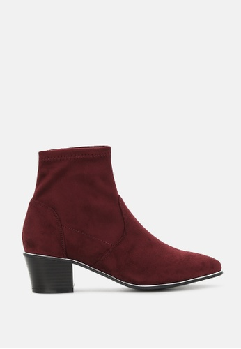 London Rag red Stacked Heel Ankle Boot with Silver Rim BFA08SH5AEB780GS_1