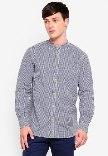 French Connection blue City Gingham Peach Grandad Shirt 8927FAA395289AGS_1