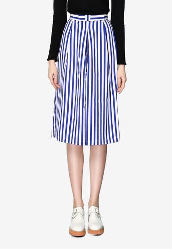 Hopeshow blue Striped Culottes 509A3AAFC07869GS_1
