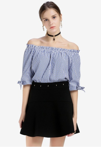 Hopeshow blue and multi Striped Off Shoulder Top C51F1AA963577FGS_1
