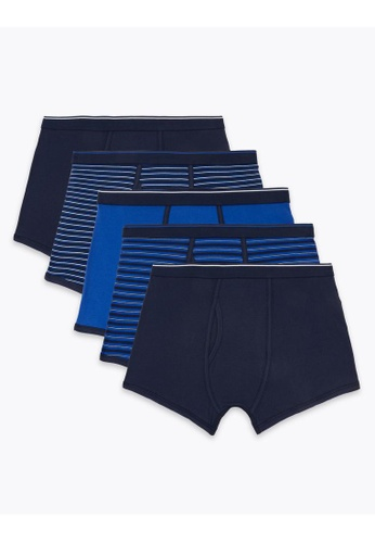 MARKS & SPENCER blue M&S 5 Pack Cotton Stretch Cool & Fresh Trunks 51E6DUSABEBEE8GS_1