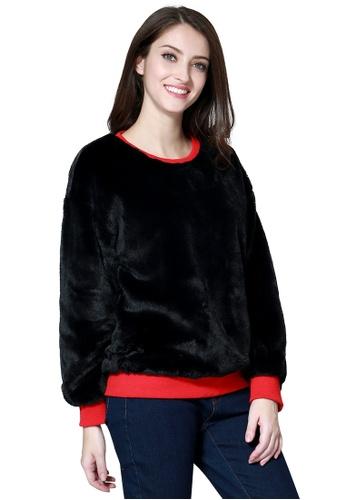 London Rag black London Rag Soft and Comfortable Fur Black Sweatshirt LO360AA0GMNUSG_1