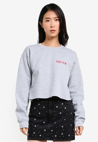 TOPSHOP grey Amour Embroidered Sweater TO412AA0SD5KMY_1