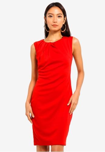 Goddiva red Neck Pleated Midi Dress 80ADBAAEBDC7BDGS_1