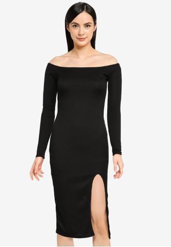 MISSGUIDED black Recycled Rib Bardot Midi Dress 8F487AAAB09614GS_1