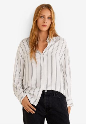 Mango 白色 Oversized 條紋襯衫 23515AA93577CEGS_1