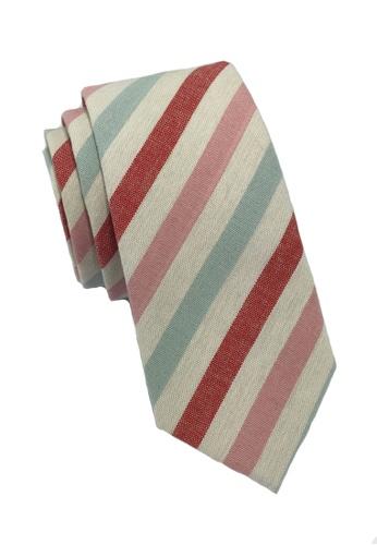 Splice Cufflinks Passe Series Baby Pink Blue Red & White Stripes Cotton Tie SP744AC37LOKSG_1