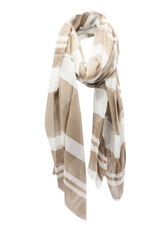Dressing Paula beige Stripe Patterned Rectangle Scarf With Frayed Hem 22135AA43F8E05GS_1