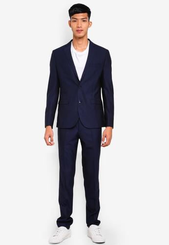 OVS 藍色 時尚西裝外套及西裝褲組 2CF7EAA7F068D2GS_1