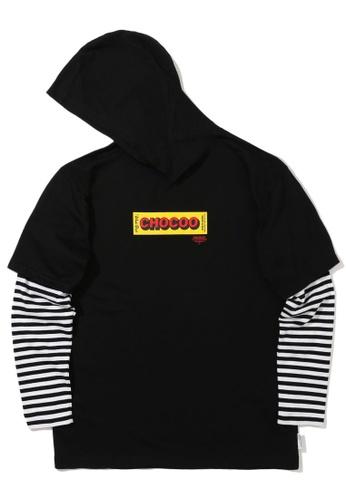 :CHOCOOLATE black Layered sleeve hoodie 9B11EAA40E79AEGS_1