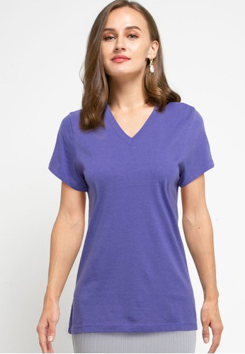 Tolliver purple V Neck Basic Short Sleeve Tee 232A3AA13FD015GS_1