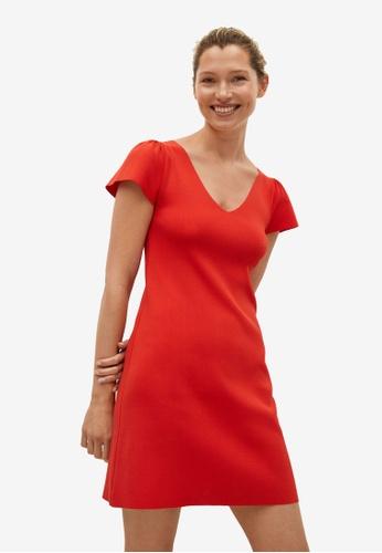 Mango red Sleeve Detail Dress 9E3CFAA3F54A4BGS_1