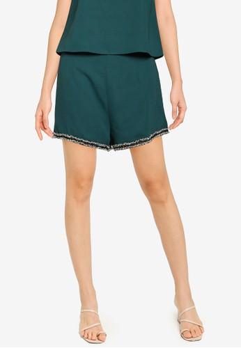 ZALORA BASICS green Co-Ord Tweed Trim Shorts A6CBEAAB26128AGS_1