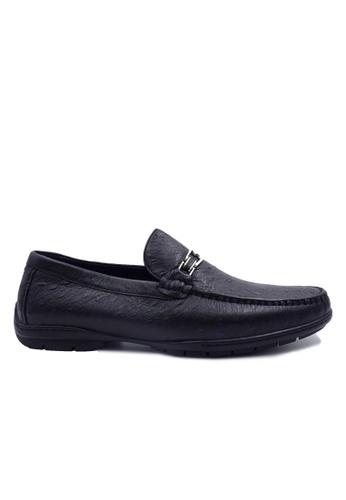 Goldlion black Goldlion Premium Loafer Shoes in Black with Blue Dots (HSH209DR92B-50) 50BA2SH5A4B527GS_1