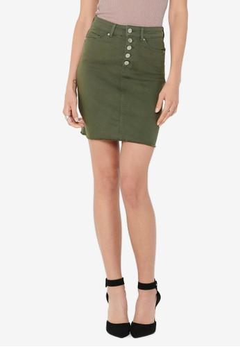 ONLY green Blush High Waist Button Raw Skirt F7A90AAFAE051BGS_1