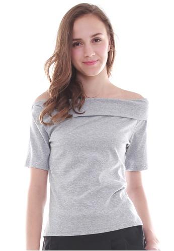 JOVET grey Off-Shoulder Top JO914AA74XCNSG_1