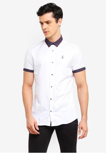 River Island white Paisley Print Collar Button-Down Shirt D98B3AAE3AFDD9GS_1