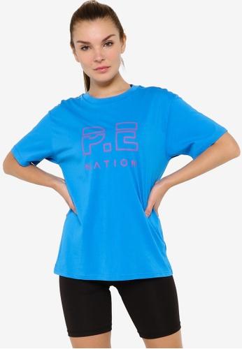 P.E Nation blue Heads Up Tee 6623CAA1F616F4GS_1