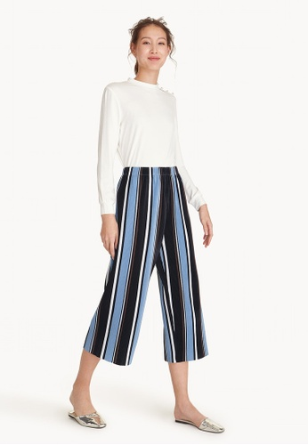 Pomelo blue Semi Pleated Stripe Culottes - Blue 368ABAA5AF76B5GS_1