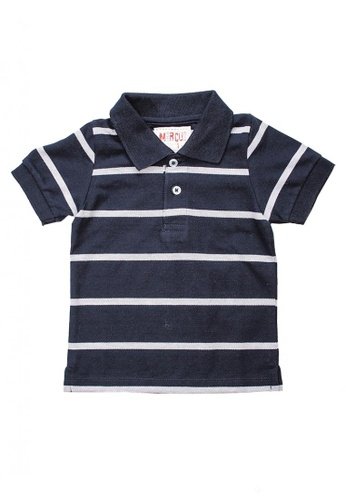 Marcus navy Steven Striped Polo Shirt 8B3FBKA20F5368GS_1