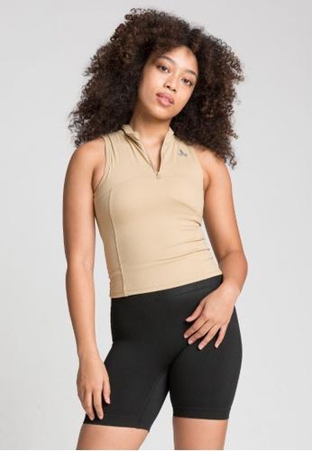 Lotus Activewear beige Penelope Sleeveless Tank Sports Bra Top BB61FUSB5E2B0CGS_1
