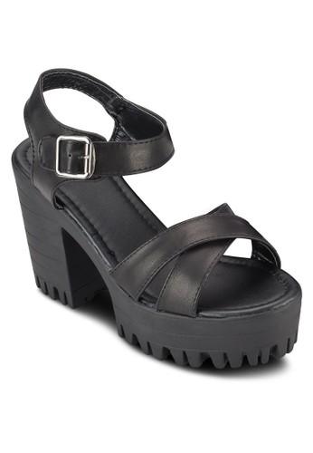 COVET 交叉帶esprit tw厚底粗跟涼鞋, 女鞋, 鞋