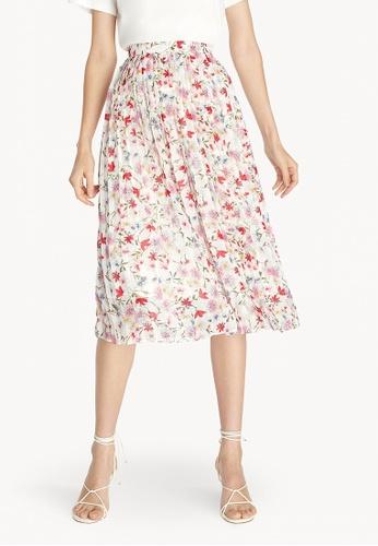 Pomelo white Midi Floral Pleated Skirt - White 118E7AA97B3739GS_1
