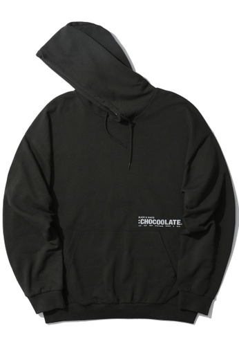:CHOCOOLATE grey Logo print hoodie 69CE8AA05FCABEGS_1
