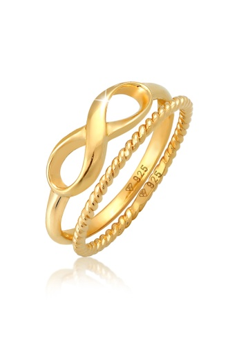 ELLI GERMANY gold Ring Stacking Ring Duo Infinity Twisted Basic Trend Blogger Gold Plated 9E309AC433F2F8GS_1