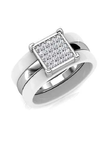 Her Jewellery white and silver Swarovski® Crystals - Square Ceramic Ring (White) HE581AC0RAE3MY_1