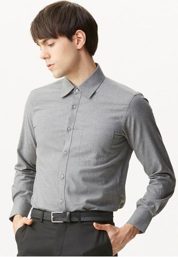 Life8 grey Textured Business Shirt LI283AA80EJVSG_1