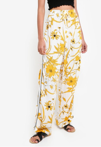 TOPSHOP yellow Linear Bloom Trousers CFB88AA1E76B1EGS_1