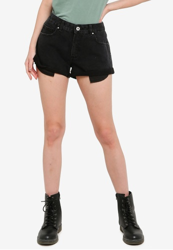 Cotton On black Mid Relaxed Denim Short 534C7AAA354A48GS_1
