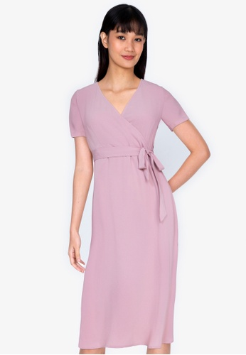 ZALORA BASICS pink V-Neck Midi Wrap Dress 1B880AAFCA553DGS_1