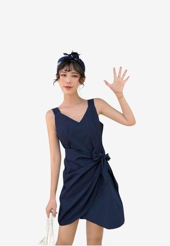 hk-ehunter navy Women Solid V Neck Sleeveless Dress 229BDAA8F7F221GS_1