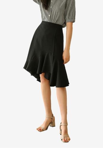NAIN black Ruffle Midi Mermaid Skirt BBD7FAA59E8A1AGS_1