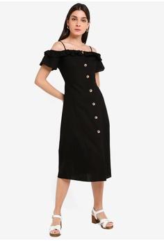 a2aae8943c510 Miss Selfridge black Black Bardot Midi Dress 973DBAA9B46765GS_1