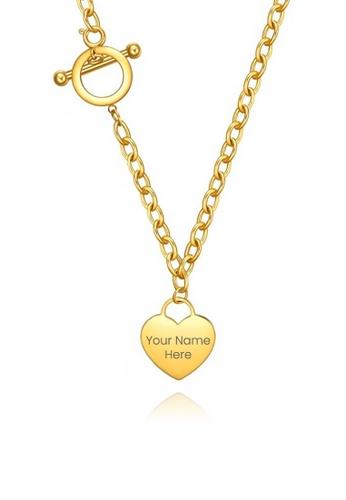 CELOVIS gold CELOVIS - Adora Heart Tag Pendant Necklace in Gold FCD02AC6CFDB5BGS_1