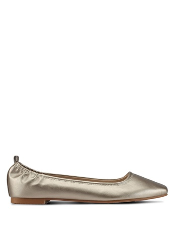 ZALORA gold Faux Leather Ballet Flats E661DSH30F6FB9GS_1