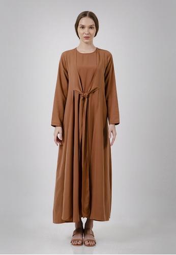 The Executive brown Lebaran Fit & Flare Maxi Dress Modest Wear A98F4AA5500098GS_1