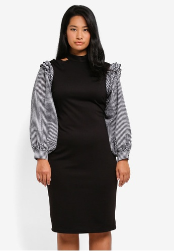 LOST INK PLUS black Plus Size Bodycon Dress With Gingham Sleeve LO776AA0SZ4WMY_1