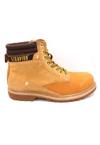 midzone yellow Genuine Leather Steel Toe Safety Boots MI949SH38XBTMY_1