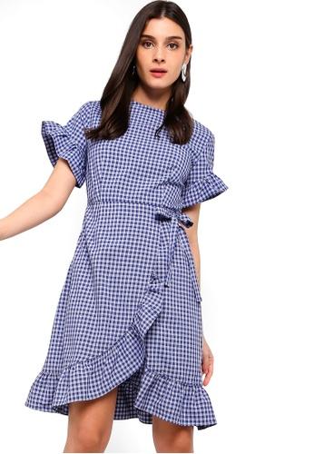 ZALORA blue Ruffles Sheath Dress 40910AA9C91AD6GS_1