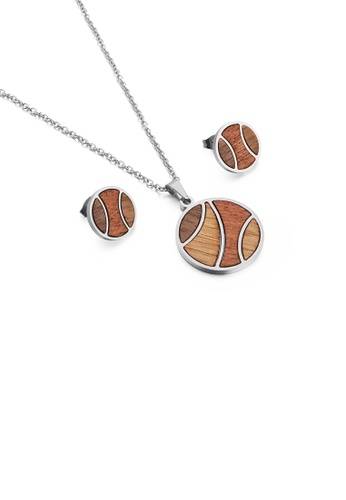 Glamorousky silver Fashion Simple Wooden Geometric Round 316L Stainless Steel Necklace and Stud Earring Set A2592AC474DF03GS_1