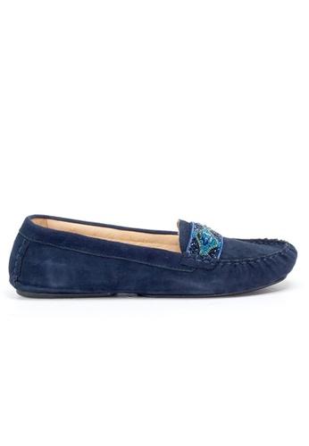 Shu Talk 海軍藍色 配珠絨皮舒適樂福鞋 62AC6SHC80F8E2GS_1