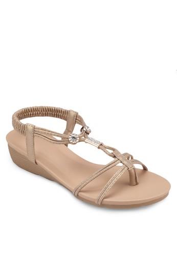 金zalora 鞋評價飾彈性繞踝楔型跟涼鞋, 女鞋, 鞋