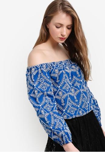 Miss Selfridge blue Blue Schiffly Long Sleeve Bardot Top MI665AA61OCCMY_1