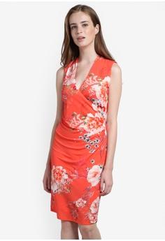 Coral Oriental Floral Wrap Dress