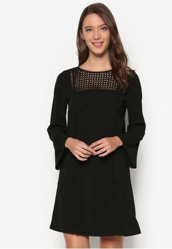 Premium Lace Insert Shift Dress、 服飾、 洋裝ZALORAPremiumLaceInsertShiftDress最新折價